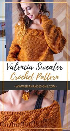 Crochet cables over a background of crochet rib stitches. Introducing the Valencia Crochet Cable Sweater. Crochet Pattern by Briana K Designs # crochet sweater Valencia Crochet Cable Sweater Pull Crochet, Mode Crochet, Crochet Cable, Crotchet, Cardigan Pattern, Crochet Cardigan, Crochet Sweaters, Poncho Style, Poncho Pullover