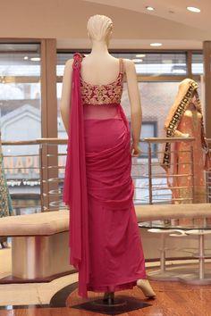 Pink Saree Gown - Back Fabric: Net Embroidery: Zari with Stone Work Saree Gown, Sari Dress, Saree Blouse, Indian Look, Indian Wear, Bridal And Formal, Pink Saree, Saree Styles, Indian Designer Wear