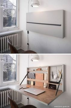 This folding desk designed by Doris Götz you .- Ce bureau repliable imaginé par Doris Götz vous … – This folding office imagined by Doris Götz you … – # Götz - Home Office Design, Home Office Decor, Diy Home Decor, House Design, Office Ideas, Design Design, Office Setup, Desk Ideas, Office Style
