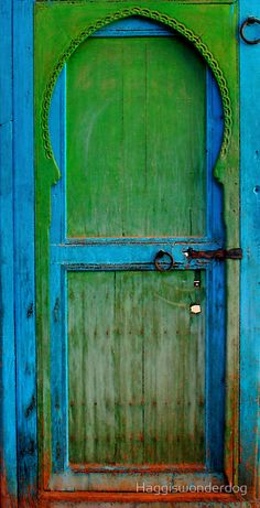 Love the mix of blue and green of and around this door.