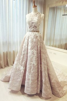 Beautiful A-line Round Neck Sleeveless Applique Long Prom