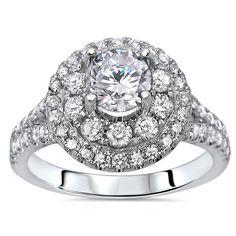 Noori Certified 14k White Gold 1 1/3ct TDW Enhanced Diamond Engagement Ring