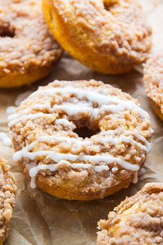 Baked not fried these Coffee Cake Donuts are ready in less than 30 minutes! The Vanilla Glaze makes them irresistible! Baked not fried these Coffee Cake Donuts are ready in less than 30 minutes! The Vanilla Glaze makes them irresistible! Baked Donut Recipes, Baked Donuts, Baking Recipes, Doughnuts, Dunkin Donuts, Baking Ideas, Vegan Recipes, Brunch Recipes, Breakfast Recipes