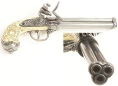 Old Flintlock Pistols Silver Ivory | ... barrel flintlock in antiqued silver finish with simulated ivory grip
