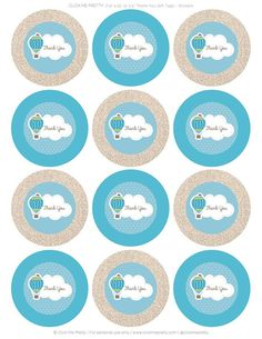 Hot Air Balloon Thank You Gift Tags - Digital Art - Party Favors Decoration Shower Party, Baby Shower Parties, Baby Boy Shower, Art Party Favors, Theme Mickey, Buy Stickers, Baby Shower Invitaciones, Hot Air Balloon, Thank You Gifts