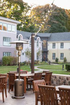 Outdoor, fall patio dining at Grove with farm to table cuisine. Briar Barn Inn, an inn, restaurant, and spa north of Boston, Massachusetts. BriarBarnInn.com Wine List, Classic Cocktails, Patio Dining, North Shore, Pergola, Spa, Barn, Farmhouse, Outdoor Structures