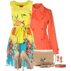 Inspiration: Do Sunday brunch or church dress on a rainy day with this floral sleeveless dress, nude patent leather pumps and handbag with orange accent jewelry under an orange trench coat Casual Chic Outfits, Cute Outfits, Festival Mode, Festival Fashion, Modest Fashion, Fashion Dresses, Church Fashion, Church Dresses, Outfit Sets