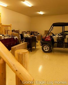 When customizing your dream home you need to make sure to have enough space for your toys.  Photos and floor plans are at www.GoldenEagleLogHomes.com  #loghomeliving #construction #loghomes #loghome #logcabins #cabin #logcabins #home #homes #houzz #outdoors #nature #rusticliving