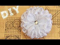 pom pom like corsage flower Diy Lace Ribbon Flowers, Kanzashi Flowers, Ribbon Art, Ribbon Hair Bows, Fabric Ribbon, Ribbon Crafts, Flower Crafts, Fabric Flowers, Fabric Bow Tutorial