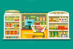 Shop, supermarket interior - Illustrations - 1