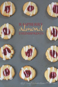 Low Carb Raspberry Almond Thumbprints - tender almond flour shortbread with raspberry chia seed jam. Tender almond flour shortbread cookies filled with sugar-free raspberry chia seed jam. A great low carb treat for a special event, or any day! Jam Cookies, Galletas Cookies, Keto Cookies, Shortbread Cookies, Cookies Snickerdoodle, Chip Cookies, Low Carb Sweets, Low Carb Desserts, Dessert Recipes