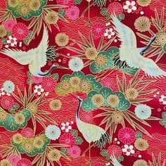Japanese cranes fabric, metallic red, birds, gold floral oriental cotton     eBay