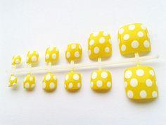 24 Yellow Polka Dot False Toe Nails, Hand Painted Fake Toenails, Artificial Nail Set from NailArtisan on Etsy. Saved to Nails. Fake Toenails, Nail Set, Artificial Nails, Toe Nails, Nail Designs, Hair Makeup, Artisan, Polka Dots, Stud Earrings