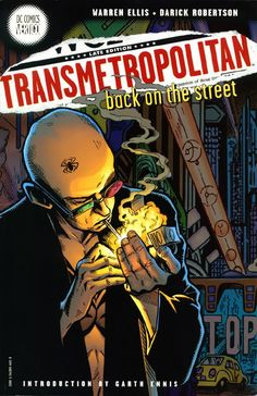 Transmetropolitan series by Warren Ellis (10 volumes) -- Outlaw journalist Spider Jerusalem returns to the City after a five year sabbatical. Aided by filthy assistants, hounded by fans and enemies (new and old), Spider is on a mission to get the Truth. Politics, journalism, and strange science fiction.  Request it at http://eisenhowerlibrary.org/ or by calling the Answers Desk at 708.867.2299