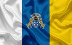 Download wallpapers Flag of the Canary Islands, Spain, National Flag, Autonomous Community, Canary Islands, national symbols