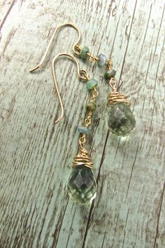 Handcrafted Bohemian Jewelry, Boho Luxe Earrings, Faceted Fluorite Briolette and Peruvian Opal EarringsBoho Earrings