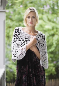 Evening Allure Cape from Lion Yarns. Free pdf pattern. Worked with 2 strands of yarn held together - N hook.