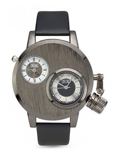 Faux Leather Strap Watch by 24:01. Designed specifically for the jet-setting gentleman. Men's Faux Leather Strap Analogue Watch from 24:01, watches with a dual-time display design is sophisticated and sleek shades of gunmetal case and leatherette strap. http://www.zocko.com/z/JJoiA