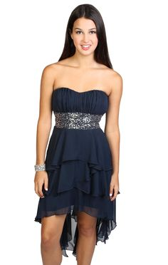strapless multi tendril high low #sequin #homecoming #dress   $58.00
