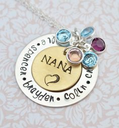 hand stamped mommy grandmother nana necklace personalized