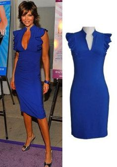 Lisa Rinna Sexy V Neck Blue Dress with Sleeve Ruffle