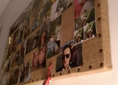 Make a cork board with few reclaimed wood and some old jute cloth