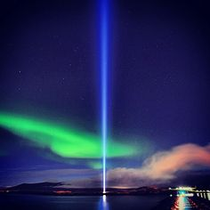 Imagine Peace Tower & Northern Lights Iceland. See more here: http://www.northernlightsiceland.com/