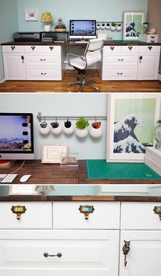 Diy built in desk using kitchen cabinets after cutting off for Kitchen cabinets 50 off