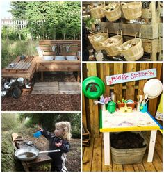 Be inspired by these totally amazing ideas for outdoor play spaces, with dens, nooks, climbing structures, mud kitchens and more for the backyard play area! Kids Play Kitchen, Mud Kitchen, Kids Play Area, Kitchen Ideas, Outdoor Learning Spaces, Kids Outdoor Play, Outdoor Play Areas, Backyard Playground, Playground Ideas