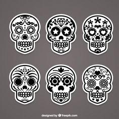 Zombie Vectors, Photos and PSD files Tattoo Crane, Skull Template, Sugar Scull, Skull Coloring Pages, October Art, Sugar Skull Design, Estilo Rock, Sugar Skull Tattoos, Sugar Skull Face