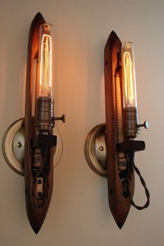 Upcycled Antique Industrial Loom Shuttle Wall... Our Victorian Bulbs go perfectly with those lamps! http://www.standardpro.com/en/victorian-style-lamps