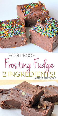 The possibilities of fudge flavors are endless with this kid-friendly foolproof recipe! frosting fudge, holiday fudge via Fudge Flavors, Fudge Recipes, Candy Recipes, Dessert Recipes, Yummy Recipes, Quick Dessert, Donut Recipes, Dessert Ideas, 2 Ingredient Fudge