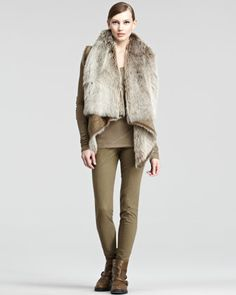 Reversible Fur Vest, Long-Sleeve Jersey Patchwork Tee & Stretch Cotton Leggings by Donna Karan at Neiman Marcus.