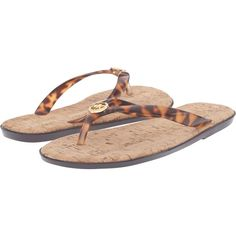 MICHAEL Michael Kors Jet Set MK Jelly (Tortoise PVC) Women's Sandals ($35) ❤ liked on Polyvore featuring shoes, sandals, animal print, toe post sandals, summer shoes, jelly thong sandals, synthetic shoes and animal print shoes