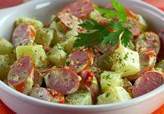 Salada de chuchu com salsicha