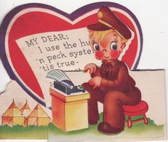 Vintage Valentine World War II Soldier w Typewriter 1940s 50s | eBay
