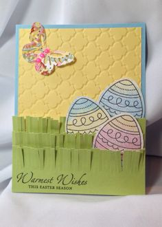 Easter Card, CTMH Quatrefoil embossing folder, Colored Egg stamp