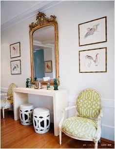 I like the long narrow table with the mirror- for bedroom dressing table