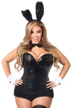 90e44d2e2e9 Plus size Black Sequins Corset Playboy Bunny Costume Playboy Bunny Costume  Halloween