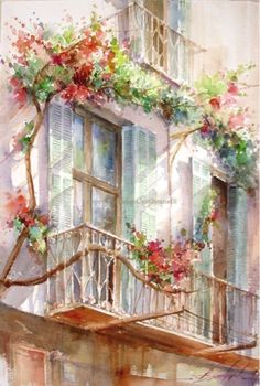 Watercolors, Oils and Acrylics by Brazilian artist Fabio Cembranelli featuring a gallery of original paintings, art tutorials, watercolor tips and his daily paintings. Watercolor Flowers, Watercolor Paintings, Original Paintings, Watercolor Tips, Watercolours, Paris Painting, Watercolor Architecture, Painting Workshop, Beautiful Paintings