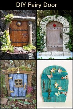 Working on this DIY fairy door project will be a great bonding activity for the . - Working on this DIY fairy door project will be a great bonding activity for the family. The Effecti - Fairy Doors On Trees, Diy Fairy Door, Fairy Tree Houses, Fairy Garden Doors, Fairy Village, Fairy Garden Houses, Fairy House Crafts, Garden Crafts, Diy Garden Projects