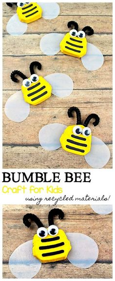 Bumble Bee Craft Using Recycled Materials: Make a bumble bee craft for kids using recyclables like a Starbucks drink carrier or an empty egg carton and an old milk jug or carton. Fun project for spring, summer or Earth Day or even an insect or bug unit. Bee Crafts For Kids, Fall Crafts For Toddlers, Summer Crafts, Toddler Crafts, Art For Kids, Craft Kids, Toddler Stuff, Insect Crafts, Bug Crafts