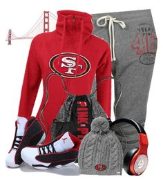 """San Francisco 49ers"" by navygmomma on Polyvore featuring Junk Food Clothing, New Era, Victoria's Secret, Beats by Dr. Dre, NIKE, '47 Brand, women's clothing, women's fashion, women and female"