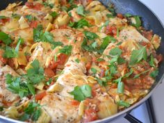 Artichoke Chicken Skillet -           ADD 1/2 C. White wine mushrooms diced tomatoes artichoke hearts with seasoning  capers and garlic top with parm cheese and bake