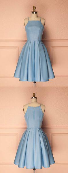Sky Blue Spaghetti Straps Homecoming Dresses (ED1835) #simibridal