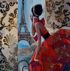 EIFFEL TOWER DRESS. Illustration by Trish Biddle. Her process of drawing, painting and designing eventually melded onto canvases, creating romantic images and her unmistakable Art Deco figurative paintings. Her expertise in capturing nature and light creates richly colored, breath-taking canvases. With a well-defined style, broad, romantic strokes and vibrant color, Trish paints figurative, floral, fashion icons and children's art.