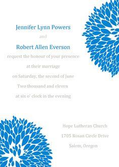 Blue Dandelion Pocket Invitation With Ribbon IWGY076