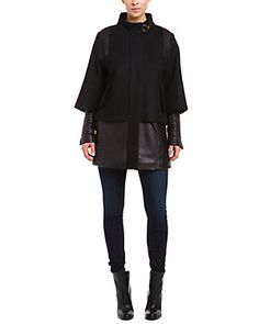 Badgley Mischka Kisa Black Wool Blend & Leather Capelet Coat