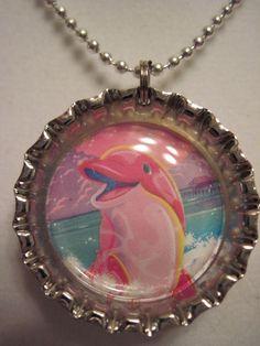 Happy dolphin bottle cap necklace