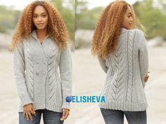Красивый женский жакет с узорами от Drops Design: описание вязания спицами | Блог elisheva.ru